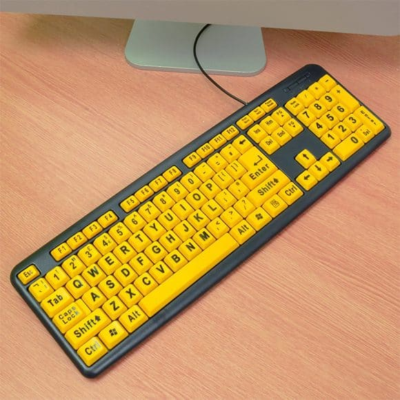 Large Print Keyboard For Visually Impaired Yellow