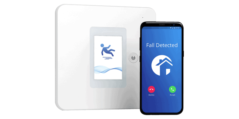 Wall-mounted fall detector and phone (large) - fall prevention