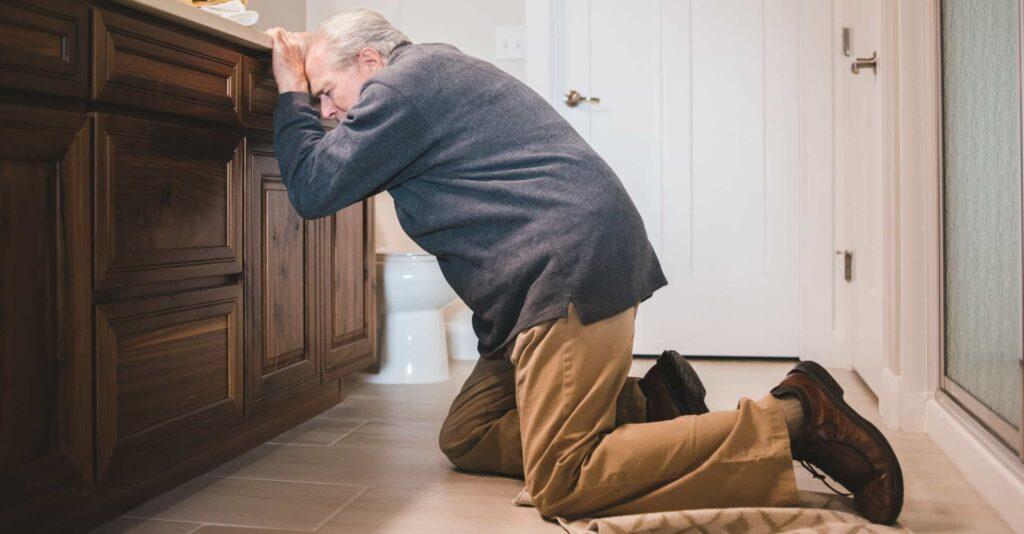 elderly man fallen over - fall prevention