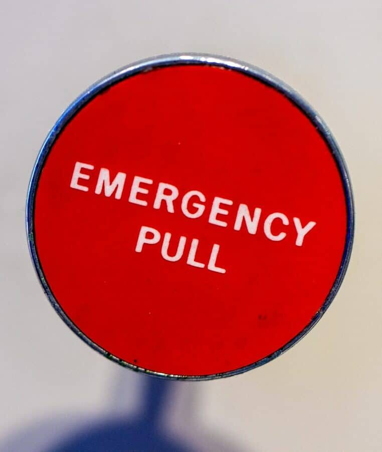 Large red emergency button - fall prevention
