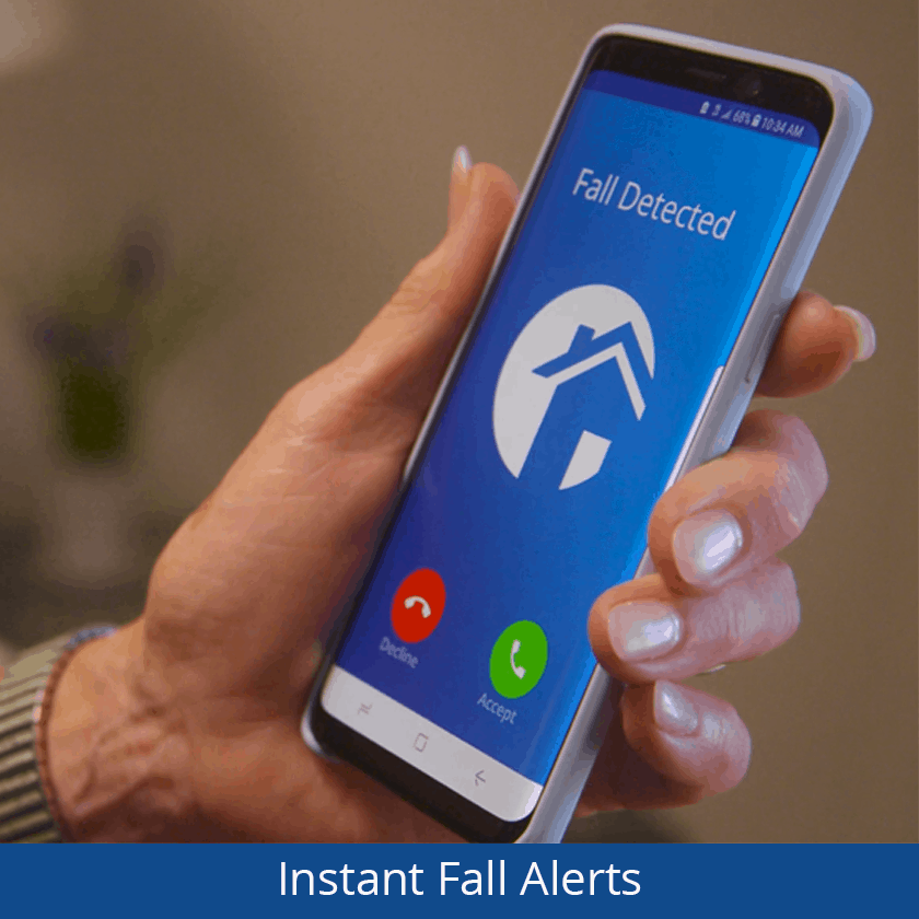Person checking fall alert on phone - fall alarm for elderly