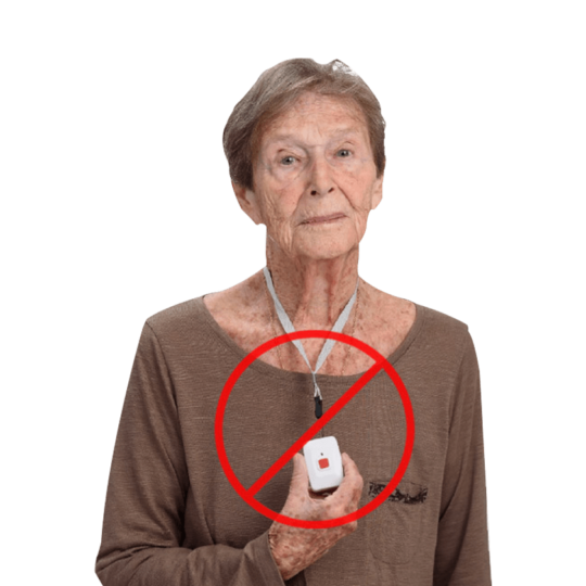 Elderly lady wearing fall detector - fall detector for elderly