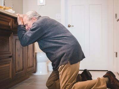 Elderly Man fallen over - falls in the elderly